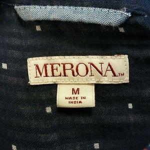 Merona Tops - NAVY WITH WHITE DOT BUTTON DOWN  SZ MEDIUM MERONA